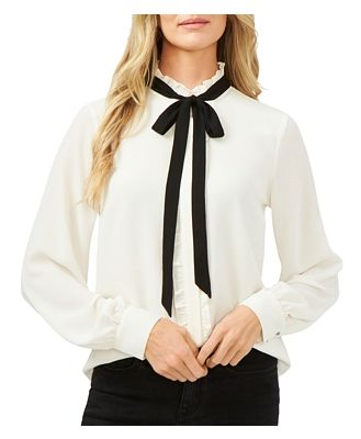 CeCe Ruffled Tie-Neck Blouse