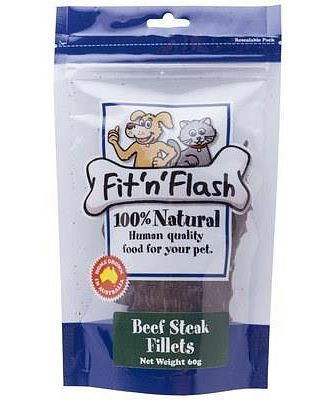 FIT 'N FLASH BEEF STEAK FILLETS 60GM