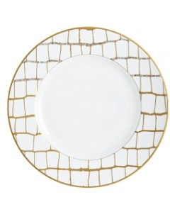 Domenico Vacca by Prouna Alligator Gold Swarovski Crystal Dinner Plate