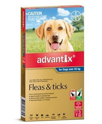 Advantix Tick and Flea Treatment for Extra Large Dogs over 25kg Pack of 3