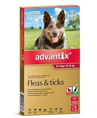 Advantix Tick and Flea Treatment for Large Dogs 10-25kg Pack of 6