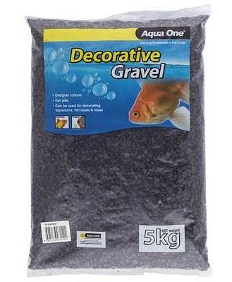 AQUA ONE DECORATIVE GRAVEL BLACK 5KG 7MM